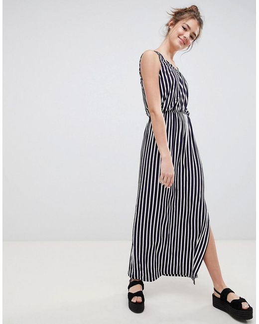 Blend She - Blue Honey Stripe Midi Dress - Lyst