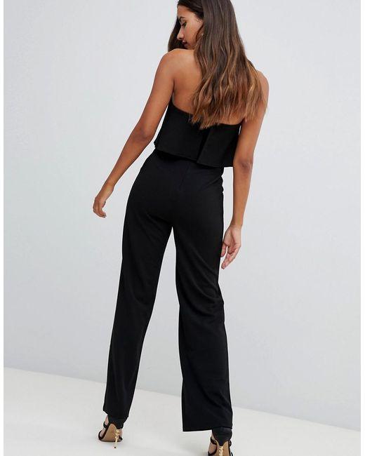 Women's Black Bandeau Double Layer Jumpsuit