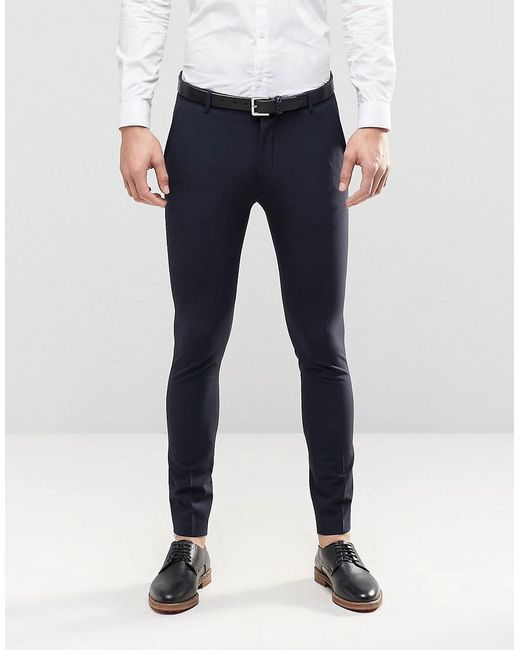 Selected Super Skinny Suit Pants With Stretch in Blue for Men ...
