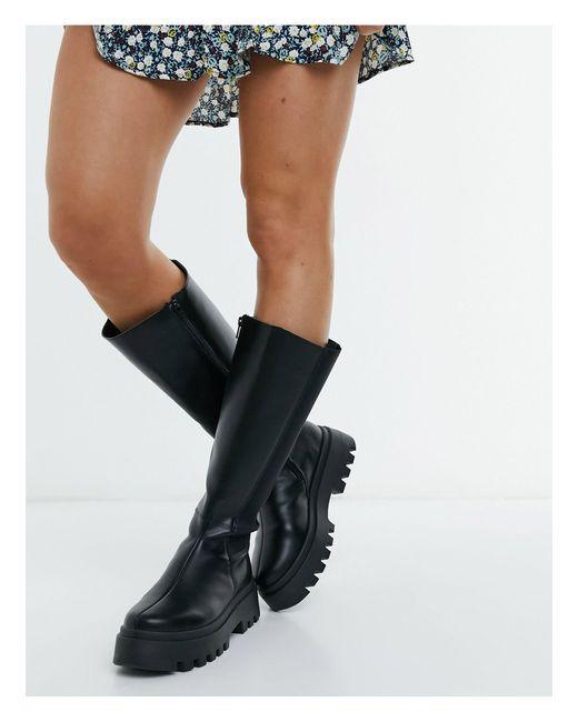 Черные Высокие Ботинки На Массивной Подошве ASOS, цвет: Black