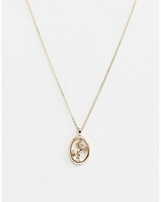 ASOS Metallic Necklace With Unicorn Pendant In Gold