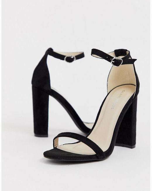 Glamorous Zwarte Minimalistische Sandalen Met Vierkante Neus En Blokhak in het Black