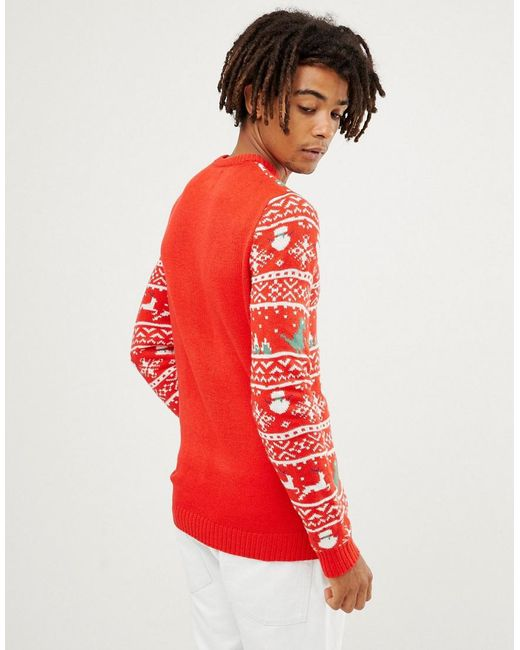 d1cc56e0f9 ... Only   Sons - Red Christmas Sweater With Novelty Fairisle for Men - Lyst