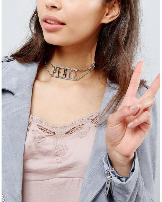 New Look | Metallic Gothic Peace Choker Necklace | Lyst