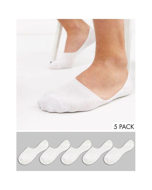 5 Пар Белых Невидимых Носков -белый New Look для него, цвет: White