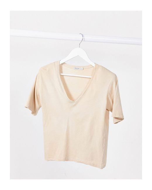 Stradivarius Natural Padded Shoulder T-shirt