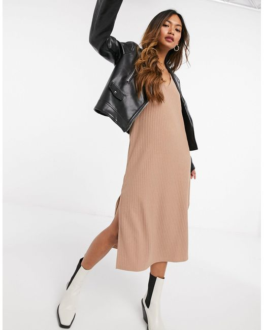 Платье-комбинация Миди В Рубчик -neutral Fashion Union, цвет: Natural