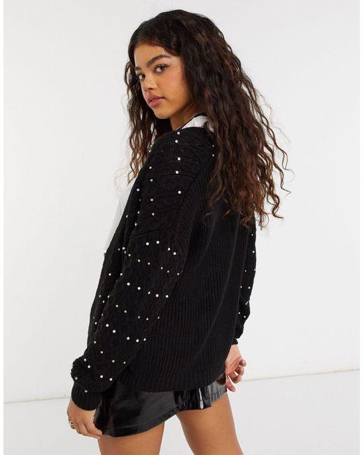 Черный Кардиган С Отделкой Бисером От Комплекта -черный Цвет New Look, цвет: Black