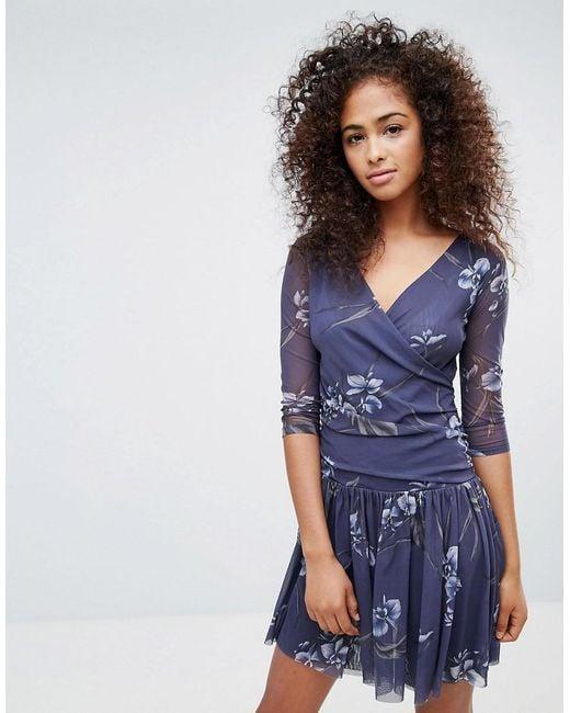 Etsu - Vestito a portafoglio in tessuto a rete di Ganni in Blue