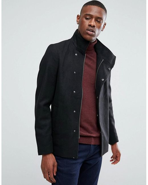 Only & Sons - Black Asymmetric Wool Overcoat for Men - Lyst