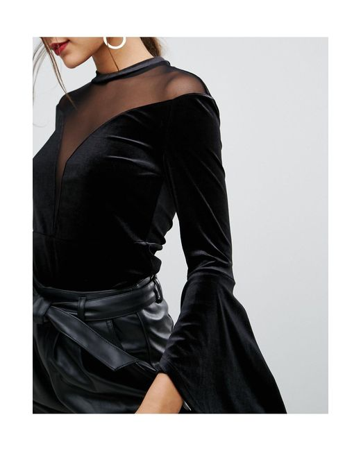 Ivyrevel Black Flared Sleeve Top With High Neck Mesh Detail
