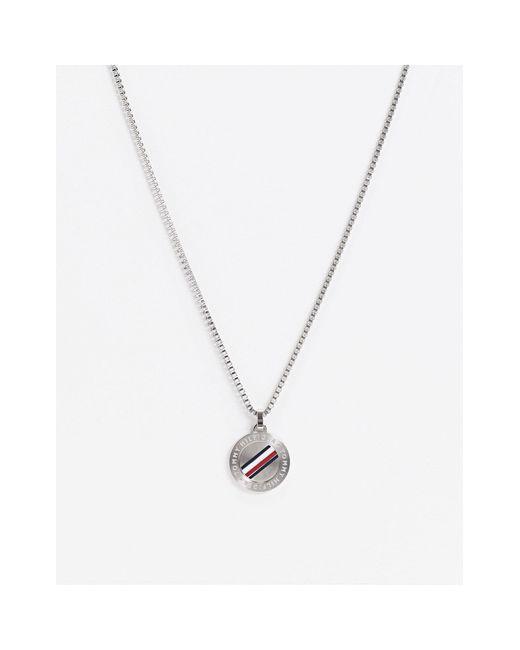 Серебристое Ожерелье С Круглым Армейским Жетоном -серебряный Tommy Hilfiger для него, цвет: Metallic