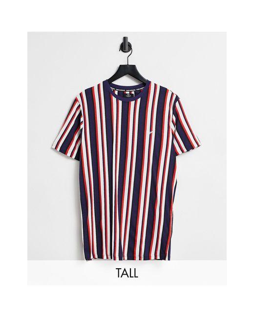 Threadbare Red Tall Oversized Co-ord Stripe T-shirt for men
