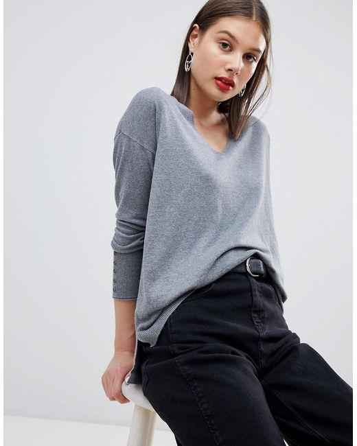 Esprit - Gray Lightweight Knitted Oversized V Neck Jumper - Lyst