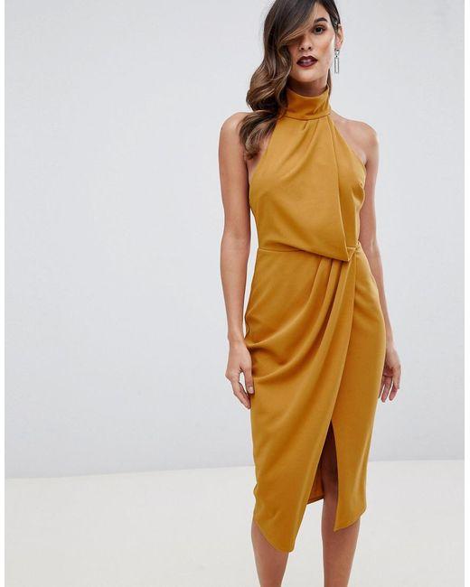 774f3fef88ee ASOS - Yellow Halter Drape Pencil Midi Dress - Lyst ...