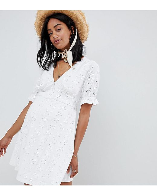 9cceff3d141c0 ASOS - White Asos Design Maternity Broderie Button Through Tea Dress - Lyst  ...
