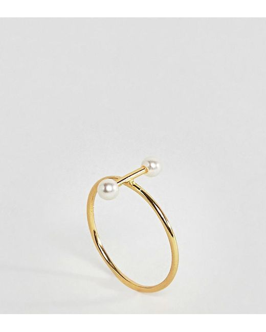 ASOS | Metallic Gold Plated Sterling Silver Pearl Bar Ring | Lyst