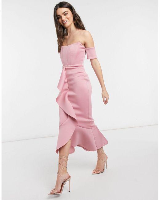 Пудровое Платье Миди С Вырезом Лодочкой, Корсетом И Юбкой Годе Exclusive-розовый Цвет True Violet, цвет: Pink