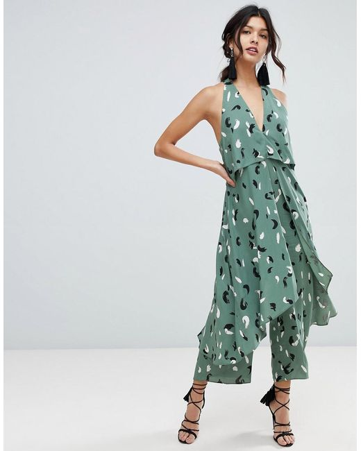 dd32b0b8e2f ASOS - Green Jumpsuit With Multi Layers In Linen Look And Brushstroke Print  - Lyst ...