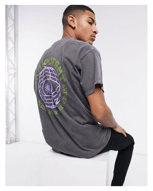 Серая Oversized-футболка С Принтом Земного Шара На Спине -черный New Look для него, цвет: Black