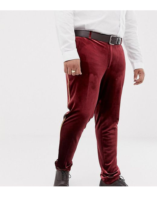 ASOS Red Plus Super Skinny Smart Trouser In Burgundy Velvet With Gold Piping for men