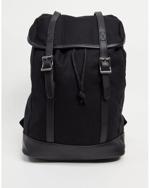 Черный Рюкзак Из Искусственной Кожи И Замши С Двумя Ручками ASOS для него, цвет: Black
