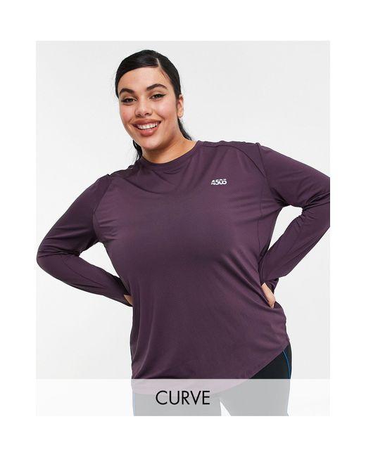 Curve - Top da corsa a maniche lunghe con logo di ASOS 4505 in Purple