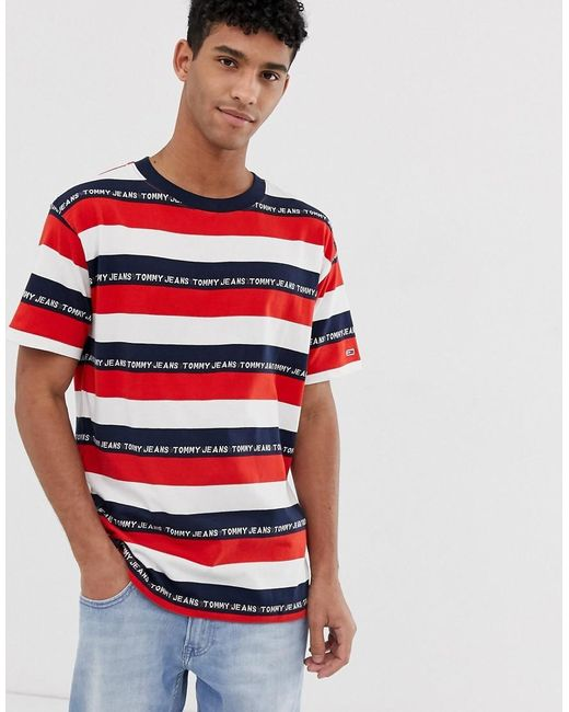 c674f49d Tommy Hilfiger Repeat Logo Striped T-shirt In Red/navy/white in Red ...