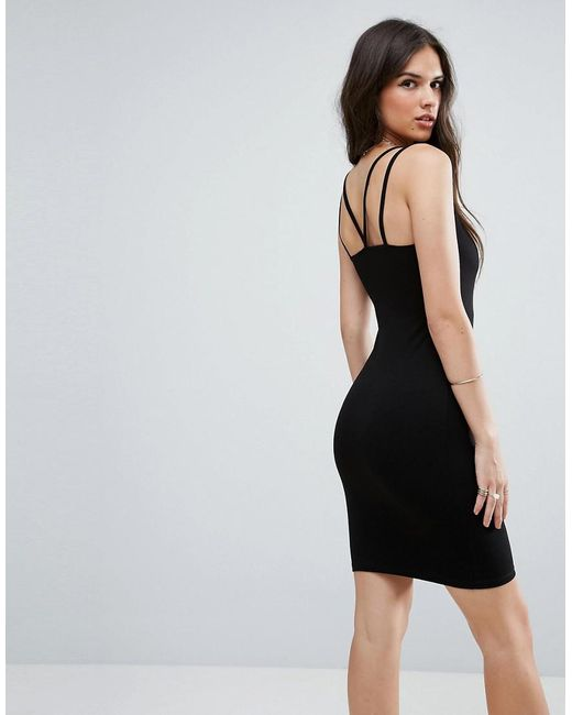 ASOS | Black Mini Double Strap Bodycon Dress | Lyst