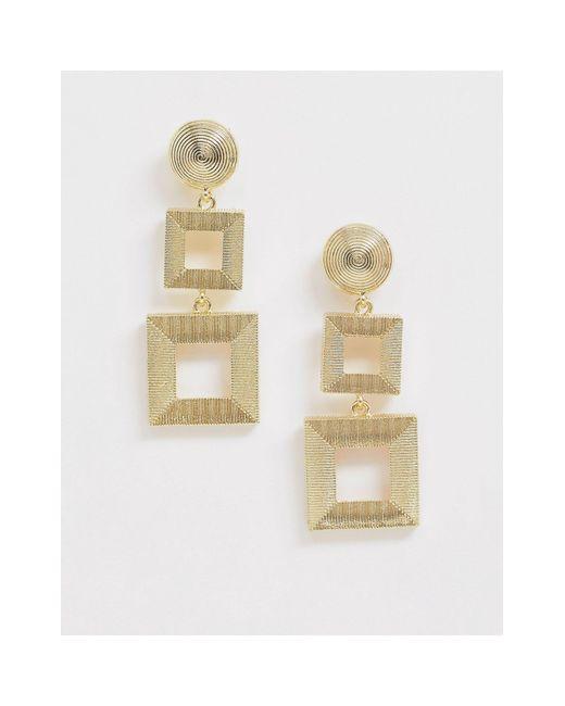 Золотистые Квадратные Серьги-подвески -золотой Nylon, цвет: Metallic