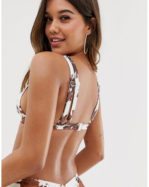 a7e0ed03fd4b9 ... ASOS - Brown Recycled Double Strap Triangle Bikini Top In Cow Print -  Lyst