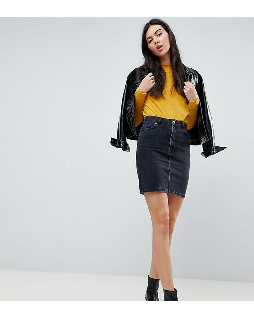 531ca34aa ASOS - Denim Original High Waisted Skirt In Washed Black - Lyst ...