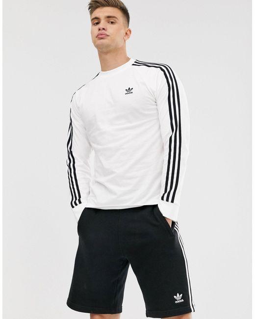 Adidas Originals White Adicolor Three Stripe Long Sleeve T-shirt for men