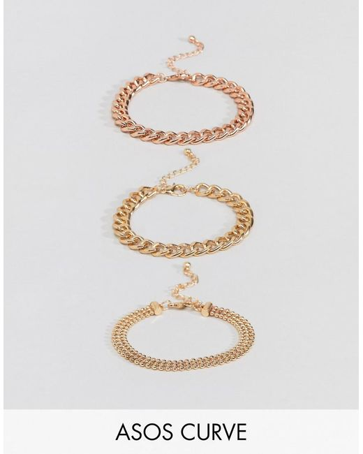 ASOS - Multicolor Asos Design Curve Pack Of 3 Bracelets In Mixed Size Chain Design - Lyst