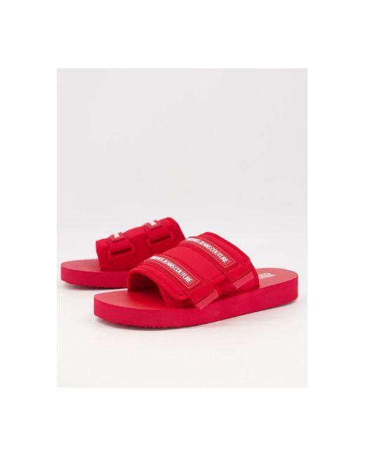Красные Шлепанцы На Липучке -красный Versace Jeans для него, цвет: Red