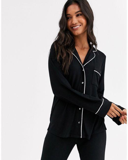 Черный Топ От Пижамы С Отложным Воротником Eco Lindex, цвет: Black