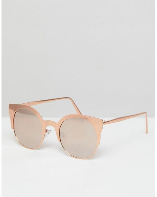 DESIGN 90S small oval sunglasses in rose gold flash lens - Rose gold Asos W57WgoOSU