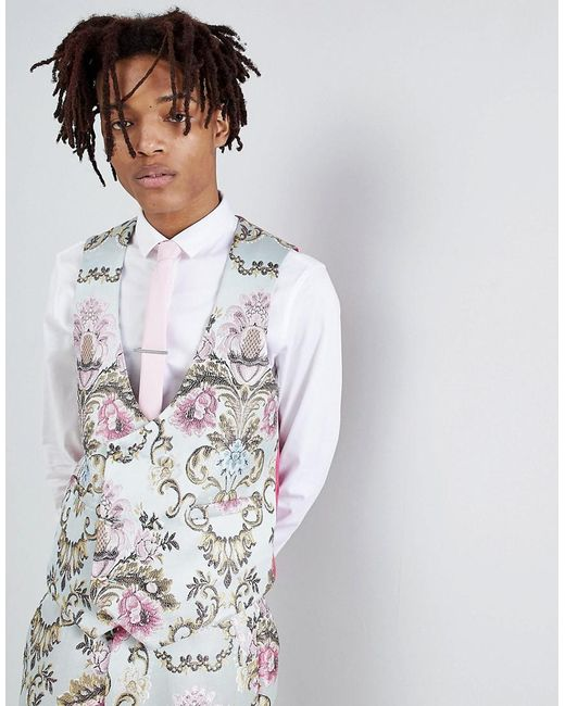 ASOS - Blue Wedding Skinny Suit Vest In Pastel Floral Jacquard for Men - Lyst