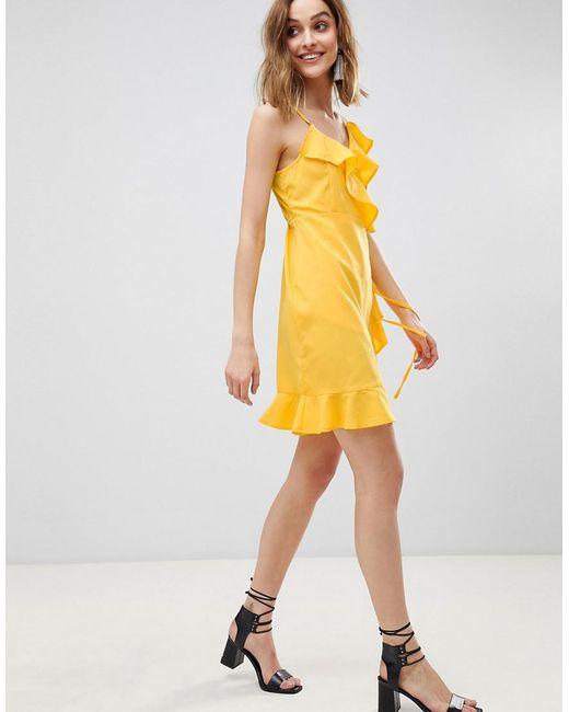 Vero Moda - Yellow Wrap Ruffle Mini Dress - Lyst