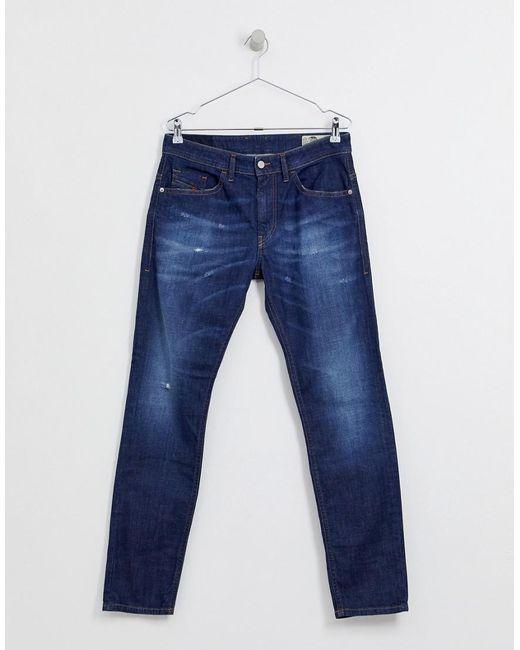 c27613c8 ... DIESEL - Blue Thommer Stretch Slim Fit Jeans In 0878n Mid Dark Wash for  Men -