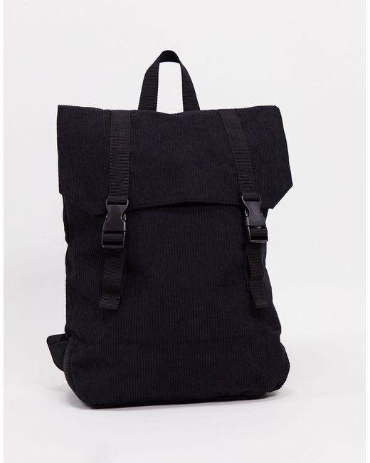 Черный Вельветовый Рюкзак С Дном Из Искусственной Кожи ASOS для него, цвет: Black