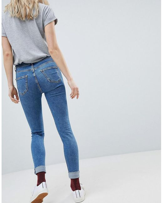 Jenna High Rise Skinny Turn Up Jean - Mid blue New Look Outlet Store Online Sale Reliable Clearance Outlet 4F0ER
