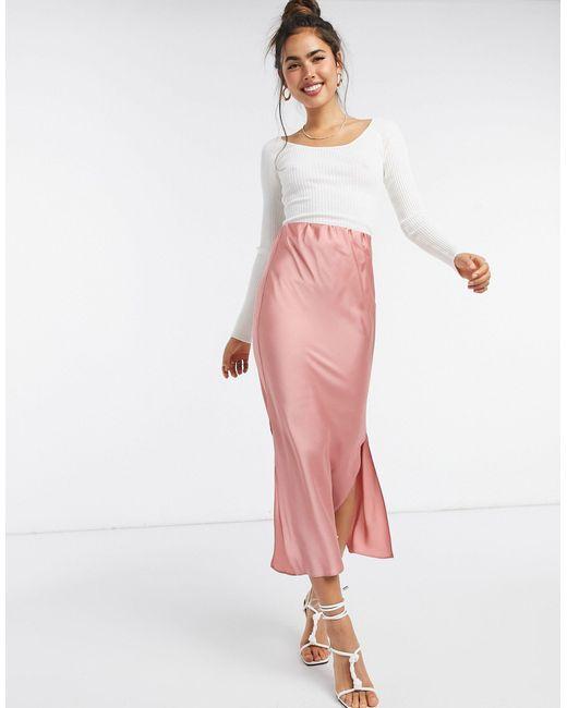 Атласная Юбка Миди ASOS, цвет: Pink