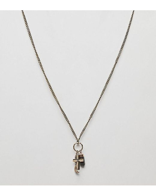Reclaimed (vintage) - Metallic Inspired Charm Pendant Necklace In Gold Exclusive To Asos for Men - Lyst