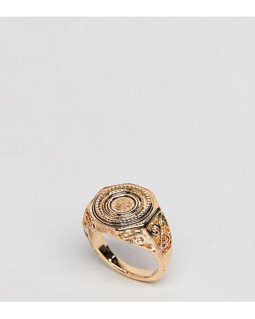 ASOS - Metallic Asos Design Curve Engraved Coin Sovereign Ring - Lyst