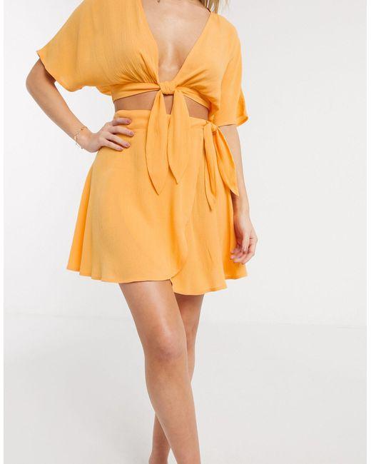 Пляжная Юбка С Завязкой Сбоку От Комплекта ASOS, цвет: Orange