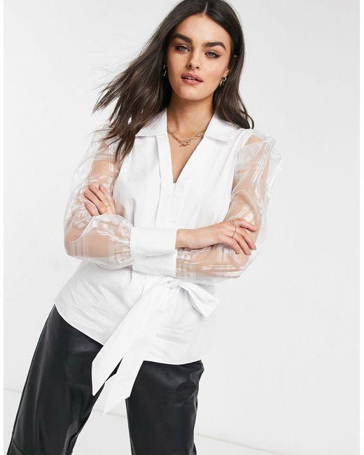 Белая Блузка Из Поплина С Запахом И Рукавами Из Органзы -белый River Island, цвет: White