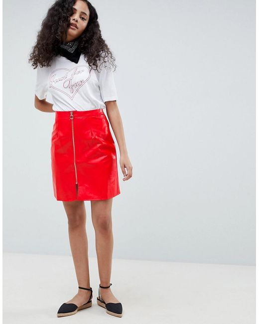 Glamorous Red A Line Vinyl Skirt With Zip Front