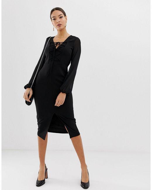Robe fourreau tissée avec détail lacé devant ASOS en coloris Black