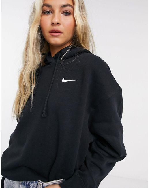 Plus - Hoodie oversize à petit logo virgule Nike en coloris Black